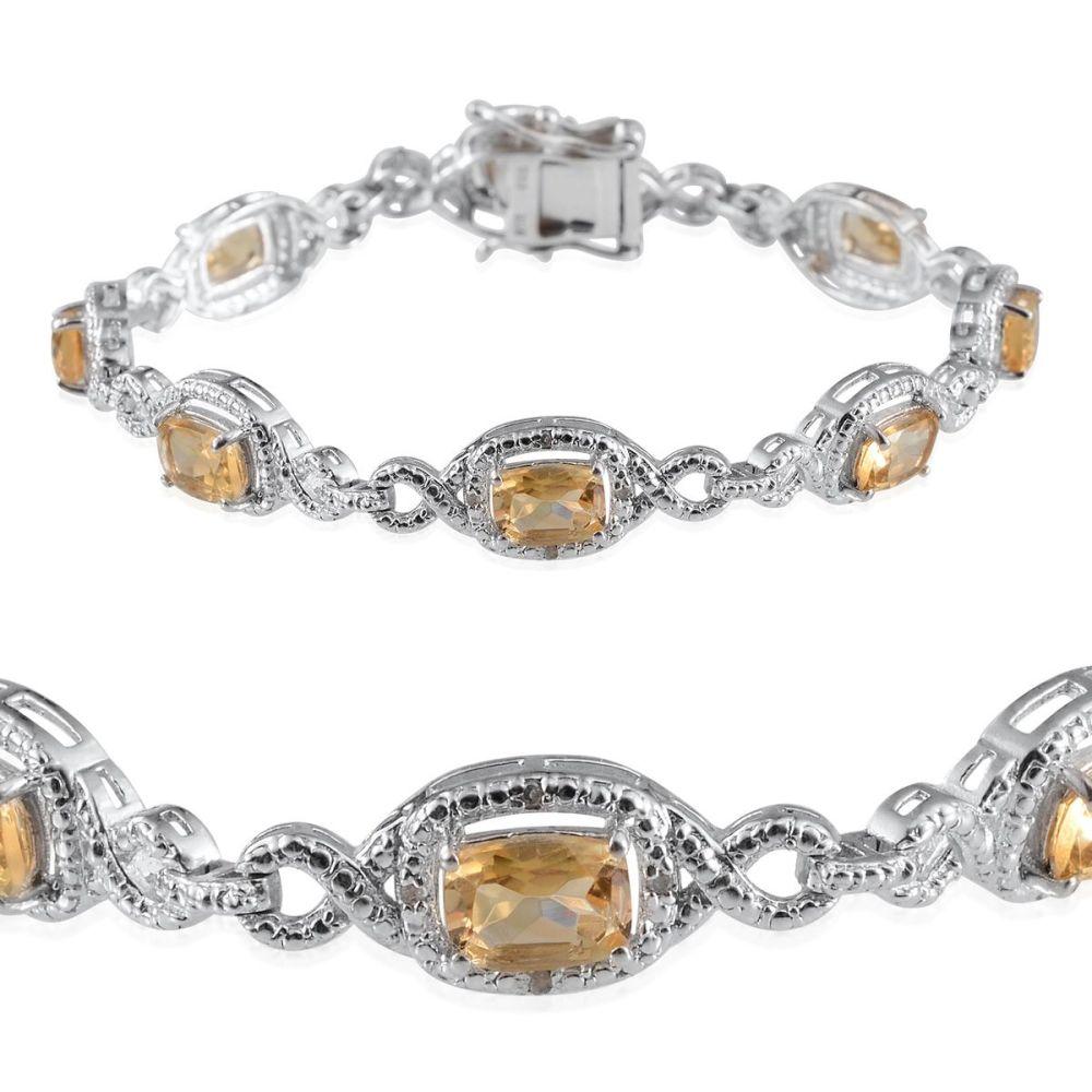 Brazilian Citrine (Cush), Diamond Bracelet in Platinum Overlay Sterling Silver Nickel Free