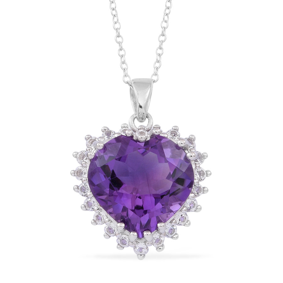 purple amethyst pendant with chain