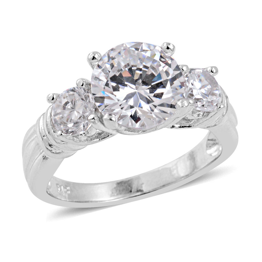 white simulated diamond ring
