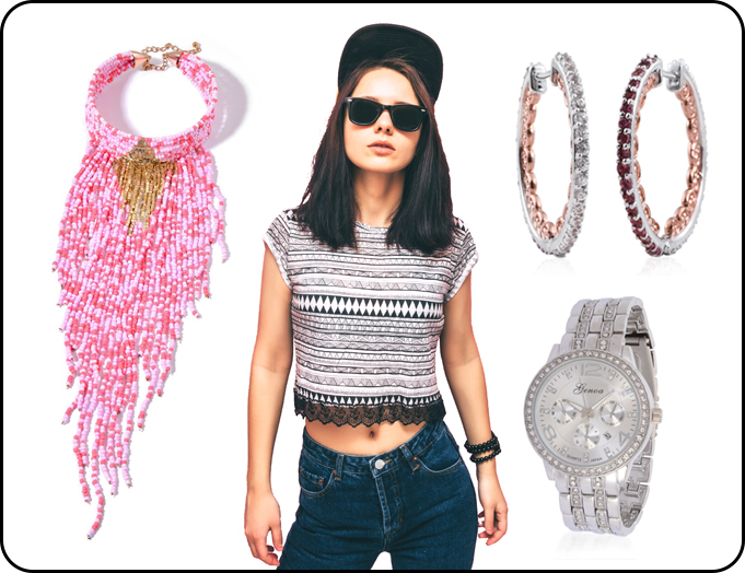 Beaded Necklace, Hoop Earrings and Luxury Watch for Dj Party Night
