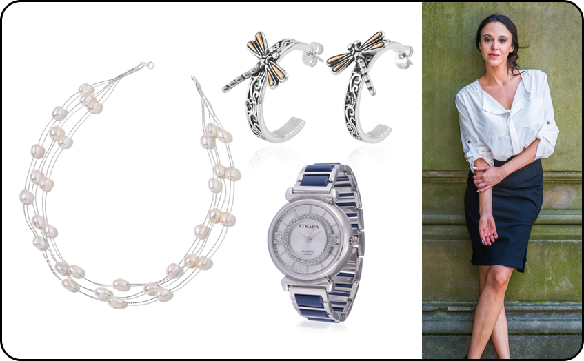 Beaded Necklace, Hoop Earrings and Luxury Watch Collection of Office