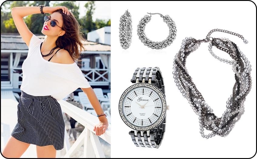 Glamour's Beach Outing With Beaded Necklace, Hoop Earrings, and Trendy Watches