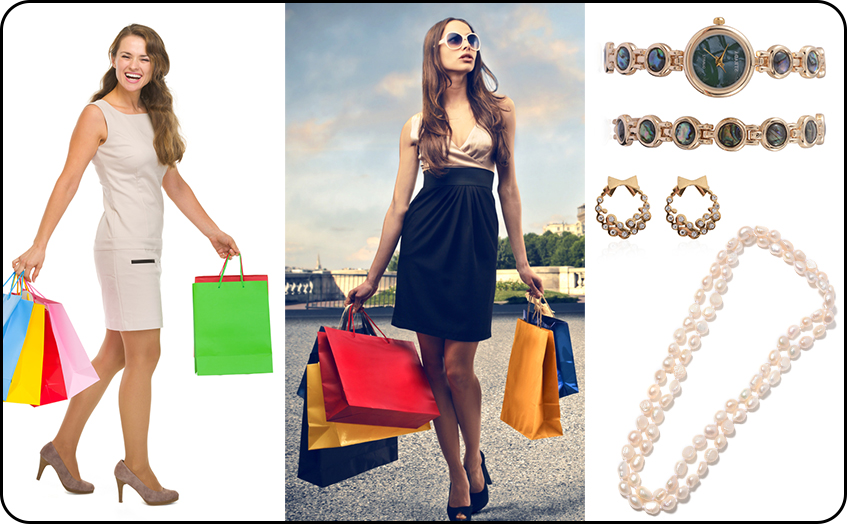 Look Glamour's at Shopping Time with Beaded Necklace Hoop Earrings and Trendy Watches